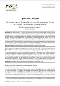 Articulo: «La agenda para el desarrollo a través del turismo en Perú y su relación con intereses internacionales»
