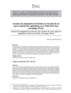 Articulo: «Acciones de adaptación al turismo: la creación de un nuevo espíritu de capitalismo en el Valle del Colca (Arequipa, Perú)»